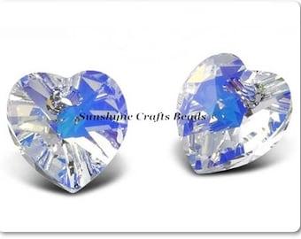 Swarovski Crystal Beads 2pcs CRYSTAL AB Heart Pendant 10.3x10mm - 6228/6202 - Crystal Hearts