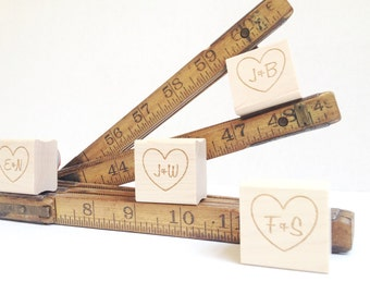 """Personalized Wedding Stamp. DIY Wedding Stamp. Custom Heart with Initials  1"""" x 1"""""""