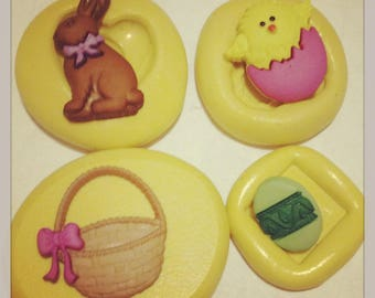 Easter Bunny Basket Chick Set Silicone Mold