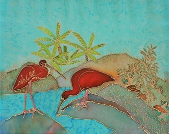 Hand Painted Silk Wall Hanging 12x12 - TAKING A DRINK, South American Scarlet Ibis, Housewarming, Birthday