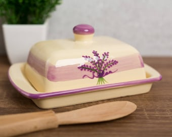 Lavender Covered Butter Dish with Lid, Ceramic Butter Keeper, European Style Purple Floral, Stoneware Handmade Pottery, Housewarming Gift