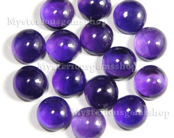 10 pieces wholesale lot natural purple amethyst round gemstone cabochon loose flat back cabochon