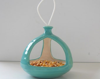 Bird Feeder, Birdbath, Ceramic, 3 Sided, MCM, Retro, Hanging Planter, Succulent Pot, Aqua Blue, Gardener Gift, Balcony Decor, Squirrel feed