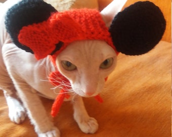 Cat Hat, Knitted Hat for Cat, Cat Costume, Dog Hat, Dog Costume, Handmade, Knit Hat, Minnie Mouse Hat