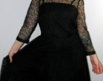 Vintage Black Lace Dress Prom Alternative Occasion Party 3/4 Sleeves Size 12-14