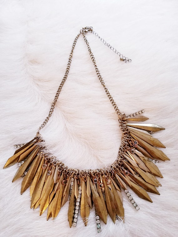 SOLD!  Vintage Rhinestone and Brass Fringe Necklace