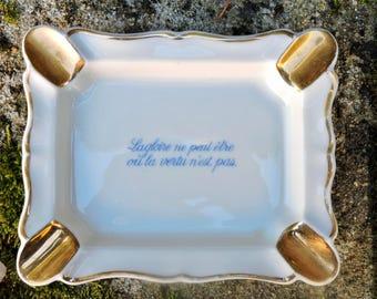 Limoges Ashtray - Vintage 1950s Porcelain -Tobacciana - Ceramique Cendrier Fumeur, Déco Bar