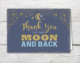 Thank You to the Moon and Back Printable Thank you Card. I love you to the Moon and Back blue PRINTABLE Thank You Card