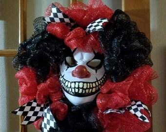 Scary clown wreath