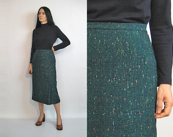 50s Jantzen Flecked Tweed Skirt / Vintage 1950s Emerald Green Tweed Wool Pencil Skirt / Rainbow Speckled Wool Skirt / Flecked Tweed Skirt