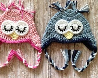 Crochet Twin Owl Hats- Child Size