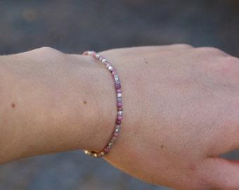 Rhodoniet & Zilveren armband, Delicate elastische Stretch armband