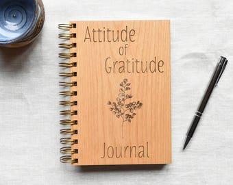 Attitude of Gratitude Journal. Positive Inspiration Gratitude Wood Notebook. Grateful Journal Gift Idea for Her.
