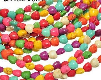 Howlite heart stone natural 8 mm 10 beads