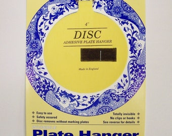 "Medium INVISIBLE PLATE HANGER - 4"" (100 mm) Adhesive Disc - Holds a Plate Up to 12"" (300 mm) in Diameter - More Than One Available"