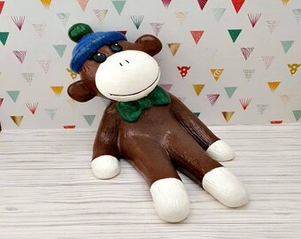 Sock Monkey Piggy Bank, Brown Sock Monkey Piggy Bank, Sock Monkey, Blue and Green Nursery, Retro Nursery, Baby Shower Gift, Sock Monkey