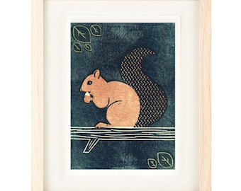 SQUIRREL Poster Size Linocut Reproduction Art Print: 8 x 10, 9 x 12, 11 x 14, 12 x 16
