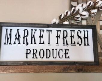 Market Fresh Produce Sign, Market Fresh Sign, Fresh Produce Sign, Kitchen Decor, Kitchen Sign, Framed Wood Sign, Rustic Wood Sign, Market