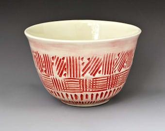 Red Serving  Bowl with Inscribed Design - Dessert, Cereal or, Trinket Dish