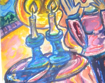Shabbat Candles Jewish Woman Judaica Art Fine Art Mixed Media Print