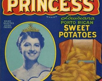 Princess Sweet Potatoes Vintage Crate Label, 1940's