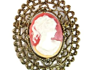 Cameo Brooch Coral Pony Tail Girl