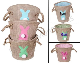 "Personalized Burlap Easter Basket - Available in 3 colors - Bunny with cotton tail - Monogrammed FREE - 10"" by 9"" tall"