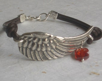 Hand Stamped Angel Wing Leather Bracelet