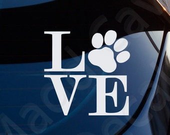 Love Dogs Paw Print Decal Car Window Laptop