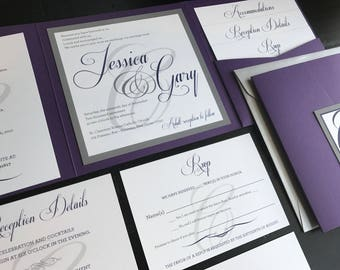 Custom Pocket Wedding Invitation Suite | Metallic Purple & Silver | Wedding Invitations | Chique | Elegant | Script | Invitation Suite