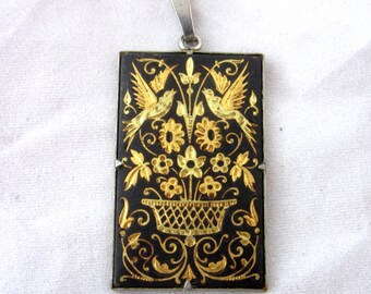 """Very old """"Toledo Work""""  pendent  with inlay of gold decorations """"Art Nouveau"""" style"""