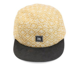 Premium handmade 5 panel hat - Customized aztec prints, real leather patch and strap.