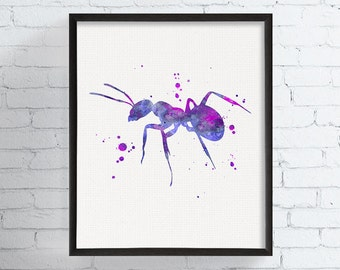 Watercolor Ant Print - Ant Art - Ant Painting - Ant Poster - Ant Illustration - Ant Wall Decor, Insect Art, Insect Print, Watercolor Insect