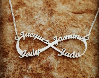 Personalized Infinity necklace 4 name necklace / family necklace /  Infinity 4 name necklace / Solid 14k white gold Infinity / Real Gold