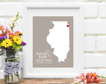 Illinois Wedding Map, Illinois State Map , Personalized Illinois Map, Anniversary, Engagement, Bridal Shower Gift Print- Art Print
