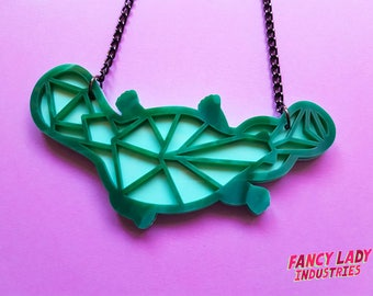 Geo Platypus Necklace, Green Platypus, Art Deco Platypus, Laser Cut Necklace