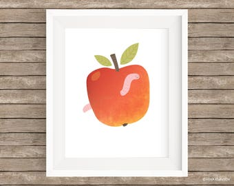 Red apple with worm art print - Instant download printable 8 x 10 nursery wall art poster - P0006