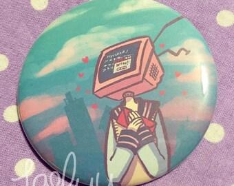 TV Computer Head School Girl Loveletter Pin Button