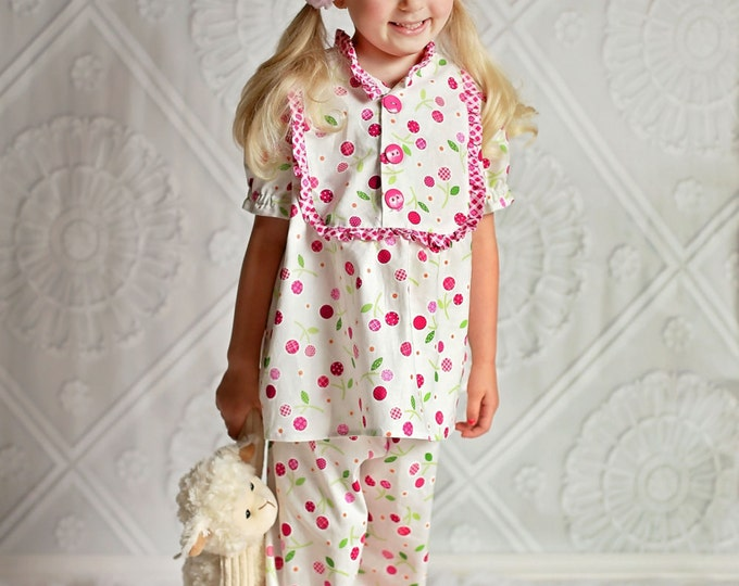 "PDF Sewing Pattern - Claire Girls Pajamas - Nightgown, Top, Pants, 18"" Doll Pattern, Size 6 Month through 10 Years"