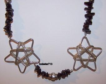 Wiccan Necklace Black Stones Double Silver Stars Pentagram Necklace Unique Pentacle Necklace Pagan Jewelry Black Stones Pentagram Necklace