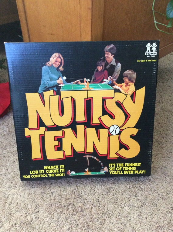 Nutty Tennis game, very unique table tennis game, tennis collector, tennis fan must have, tennis player gift, 1974 Nutsy tennis game