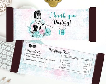 """Candy Bar Wrappers, Bridal Shower Candy, Breakfast at tiffanys thank you darling, favors gifts. 5.25x5.75""""/2-Per Sheet {Textured Pink/Blue}"""