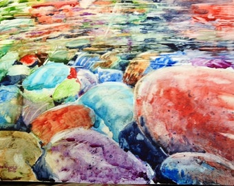 River Rocks Painting-Yupo Paper