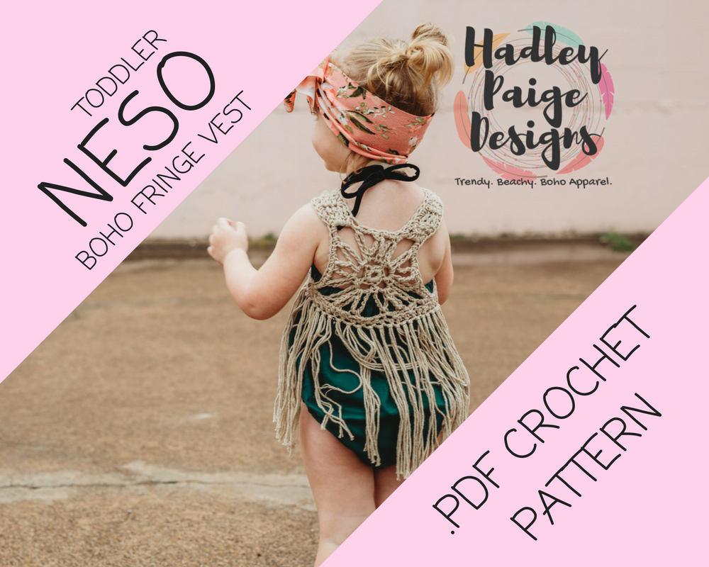 NESO TODDLER size Boho Fringe Vest Crochet PATTERN // by Hadley ...
