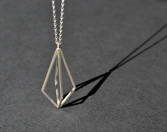 3D Kite Necklace | Sterling Silver Geometric Long Necklace | 3D Geometric Necklace