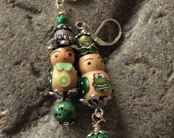 Pierced earrings polymer unique unusual chip love wood