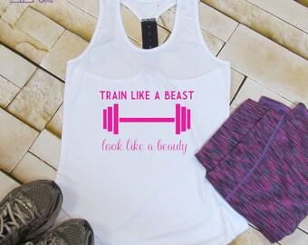 Gym Tank Top, Train Like A Beast Vest Top, Gym Tank, Workout Tank, Yoga Tank, Gym Shirt, Funny Workout Tank, Gym Vest, Workout Clothes
