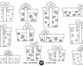 Christmas Digital Stamps, Christmas Presents Line Art, Holiday Gifts Clip Art - Commercial Use, Instant Download
