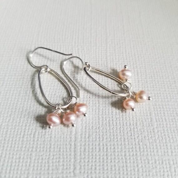 Pink Pearl Sterling Silver Drop Earrings, Oval Earrings, Lightweight Earrings, Delicate Wedding Jewelry, Pretty Earrings, made in Canada