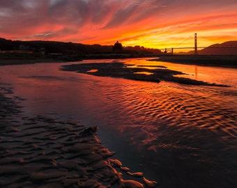 San Francisco Sunset Golden Gate Bridge Photograph Wall Art Print - Home Decoration - California Art - Beautiful Sea Beach Photo